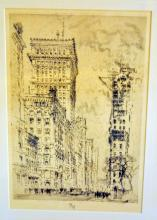 19th c etching signed Pennell/NYC