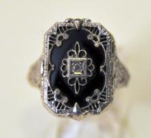 30's  onyx sterling ring/ diamond