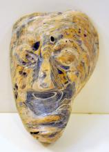 Prehistoric oyster shell carved/face mask