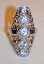 Sterling deco style dinner ring