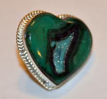 Sterling malachite druzy heart ring