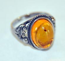 Sterling vintage amber ring