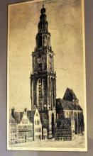 European etching cathedral signed /pencil