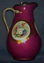 Antique hand painted covered pitcher