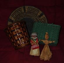 Old baskets/corn husk dolls