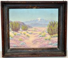 Vintage oil painting signed of desert flowers