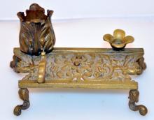 Bronze desk piece/vintage pen rest