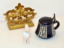 Vintage bisque figure, brass napkin holder, cobalt condiment jar