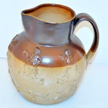 Old hand thrown pitcher/hunting scenes with dogs/horses