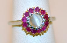 Sterling ring moonstone/rubies