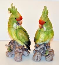 Vintage pair cockatiels bisque statues