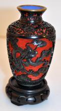 Rare cinnebar vintage vase on stand