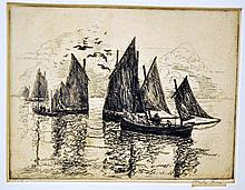 Hayley Lever signed etching-Cornwall England