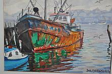 Signed Margulies watercolor/Gloucester boat