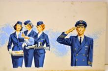 Watercolor - Stewardesses- original illustration-vintage