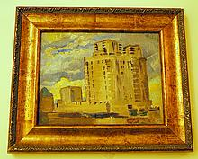 Hayley Lever oil/ signed Mt. Vernon NY building