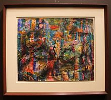 Hyman J Warsager Abstract Painting Mid-Century