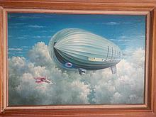 British Military Aviation Zeppelin illustration oil painting