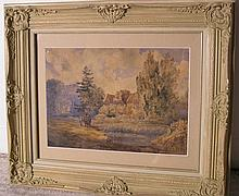 British Watercolor 19th Century Country Cottage Landscape