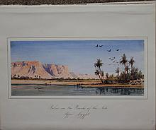 Gabriel Carelli British Italian Orientalist Egypt Nile watercolor