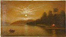 Hudson River School Luminist Indian Campfire