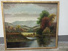 Hudson River Landscape 19th century Naive
