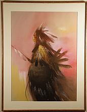 Indian Chief large pastel on paper Cowboys Indians Western