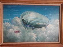 Blimp Zeppelin Aviation painting British