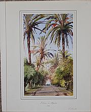 Gabriel Carelli British Italian Orientalist Algiers watercolor