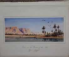 Gabriel Carelli British Italian Orientalist Egypt Nile watercolor