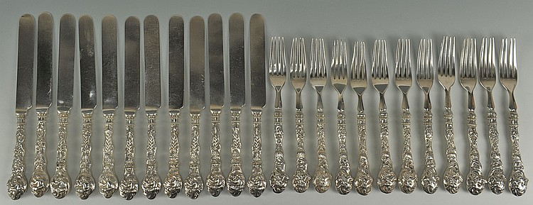 Chinese Export Silver Forks and Knifes, 24 pcs.