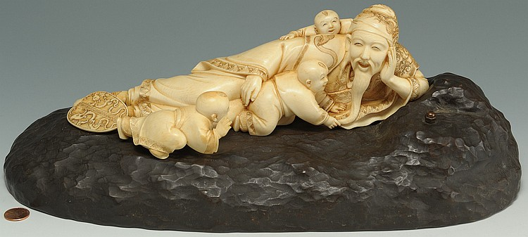 Large Japanese Figural Ivory Okimono on stand