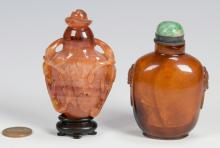 2 Chinese Snuff Bottles inc. amber