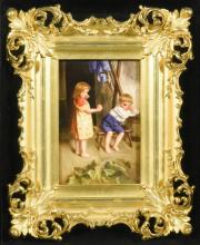 KPM Plaque, Peace Offering, Signed Wagner
