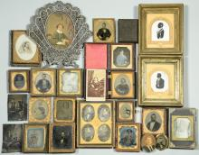 Archive of ambrotypes, tintypes, dags, silhouettes and miniature portraits