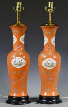 Pr. Chinese Export Porcelain Vases/Lamps