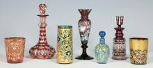7 Colored Glass Perfume Bottles and Cups