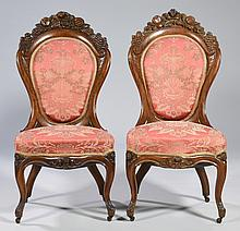 Pair Rococo Revival Chairs, attr. Belter