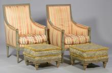 Pair Louis XVI Style Bergere Armchairs & Footstools