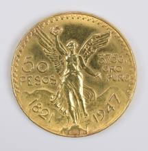 Mexico 1947 50 Pesos Gold Coin