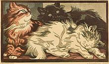 Signed Bresslern-Roth Linocut of Kittens