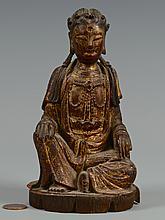Polychrome Carved Seated Buddha