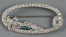 Platinum, Diamond Emerald Pin