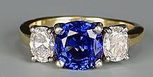 18K Platinum Sapphire Diamond Ring