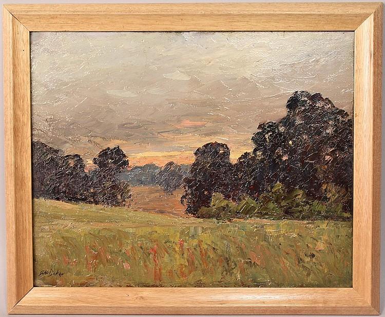 Gus H. Baker, Indiana landscape, 2 sided