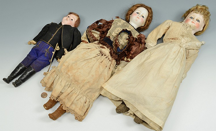 3 French Dolls, female and male