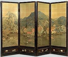Meiji Japanese Silk Floor Screen