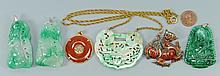 6 Asian Pendants incl. Jade