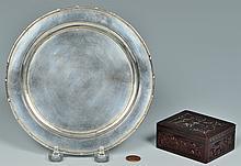 Chinese Silver Zeewo plate, Cherry Amber Box