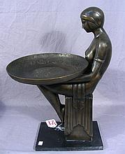 ART DECO STYLE BRONZE KNEELING WOMAN HOLDING TRAY